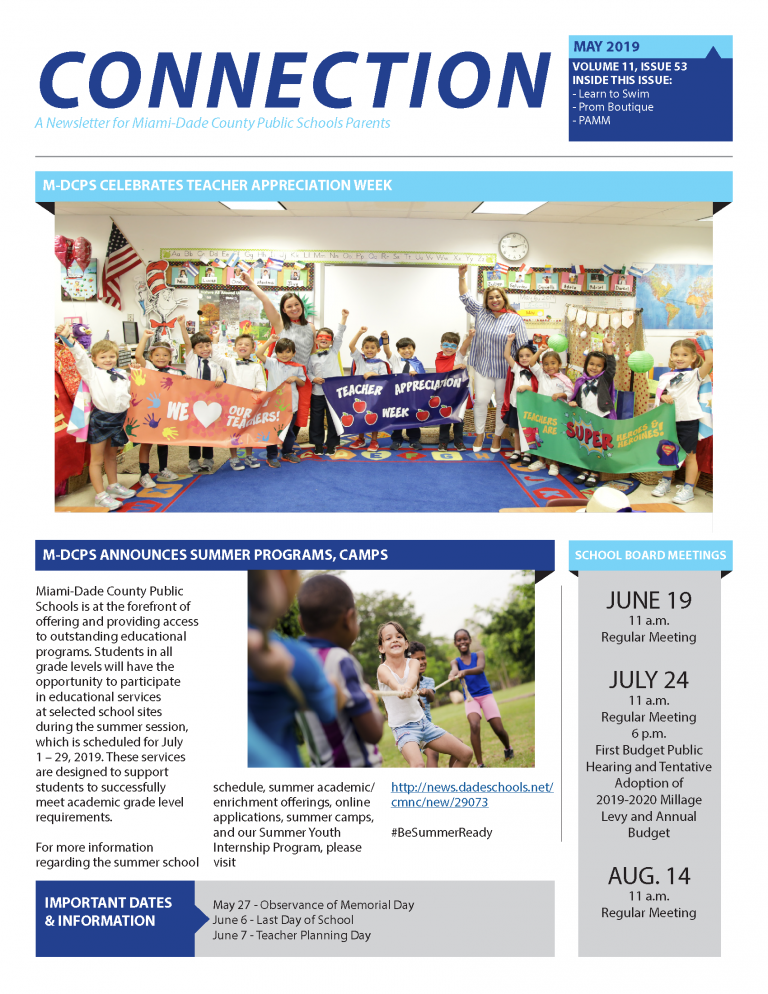 May 2019 Connection Parent Newsletter English